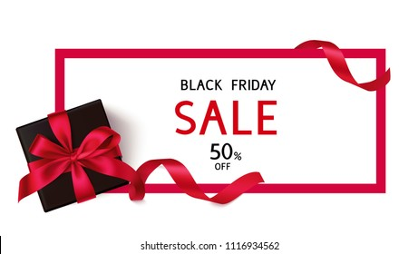 Black Friday Sale discount flyer template with black gift box and red bow. Vector gift card