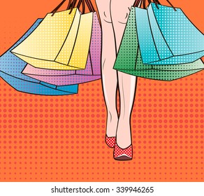 Black Friday. Sale discount time in mall, retail store.  Shopping Time. Pop Art sexy woman's legs on high-heels shoes holding new bags. Fashion days. Cute Shopaholic cartoon girl. retro dots. vector