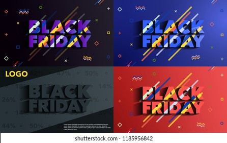 Black Friday. Sale and discounts banners. Background with colored lines. A set of banners templates in flat trendy memphis geometric style. An inscription with a long shadow. Vector illustration.
