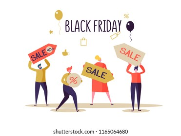 Black Friday Sale Event. Flat People Characters with Price Tags on Shopping. Big Discount, Promo Concept, Advertising Poster, Banner. Vector illustration