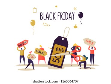 Black Friday Sale Event. Flat People Characters on Shopping. Big Discount, Promo Concept, Advertising Poster, Banner. Vector illustration