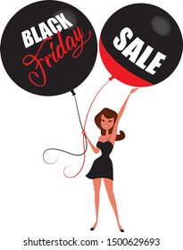 Black Friday sale event vector illustration. Cartoon people character with balloons. Discount black Friday image.
