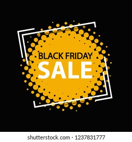 Black Friday Sale Frame Banner - Retro Vector Illustration In Halftone Style - Isolated On Black Background