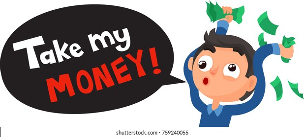 Black Friday Sale Funny Poster. Crazy Man With Money Ready For Shopping. Cartoon Style Vector Illustration