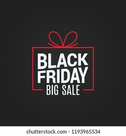 black friday sale gift box on black background