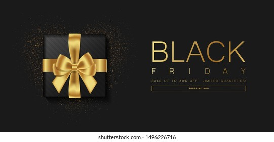 Black Friday sale. Gift box decorated with gold bow on black background. Top view. Vector illustration.