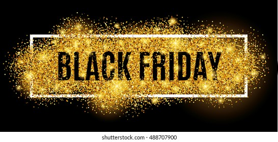 Black friday sale gold glitter background. Black shine gold sparkles background. Super friday sale logo for banner, web, header and flyer, design. Christmas and new year shopping.