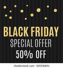 Black friday sale - gold glitter hand lettering on black background greeting card