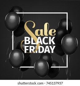 Black friday sale gold lettering. Holiday shopping. Black background. Vector illustration. Black balloons.