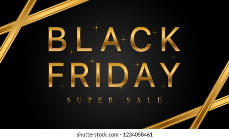 Black Friday sale with golden ribbons on dark background, Sale banner