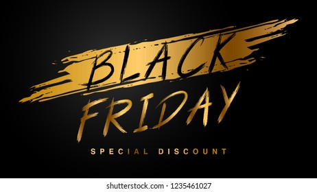 Black Friday sale with golden text on dark background, Sale banner