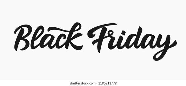 Black Friday Sale Hand Written Lettering. Modern Vector Calligraphy. Retro Advertising poster Design Element.
