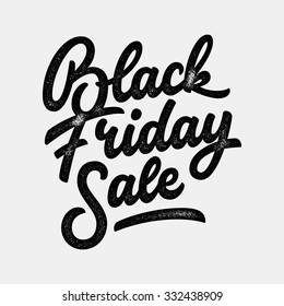 Black Friday Sale handmade lettering, calligraphy with film grain, noise, dotwork, grunge texture and light background for logo, banners, labels, badges, prints, posters, web. Vector illustration.