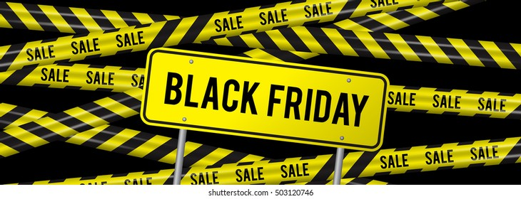 Black Friday sale horizontal banner for the site. Vector illustration of a road sign and yellow ribbons caution sale
