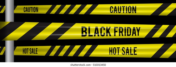 Black Friday sale horizontal banner for the site. Vector illustration of a road sign and yellow ribbons caution super sale