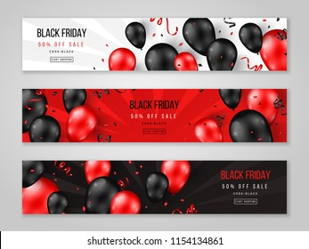 Black Friday Sale horizontal banners with 3d balloons and confetti. Vector illustration. Place for text.