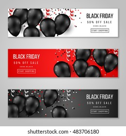 Black Friday Sale Horizontal Banners Set. Flying Glossy Balloons on White and Red Background. Falling Confetti and Serpentine. Vector illustration.