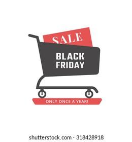 Black friday sale icon. Shopping cart. Vector
