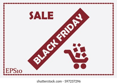 Black friday and sale icon. Vector illustration.