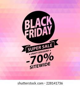 Black friday sale illustration. Advertising poster on pink faceted background.