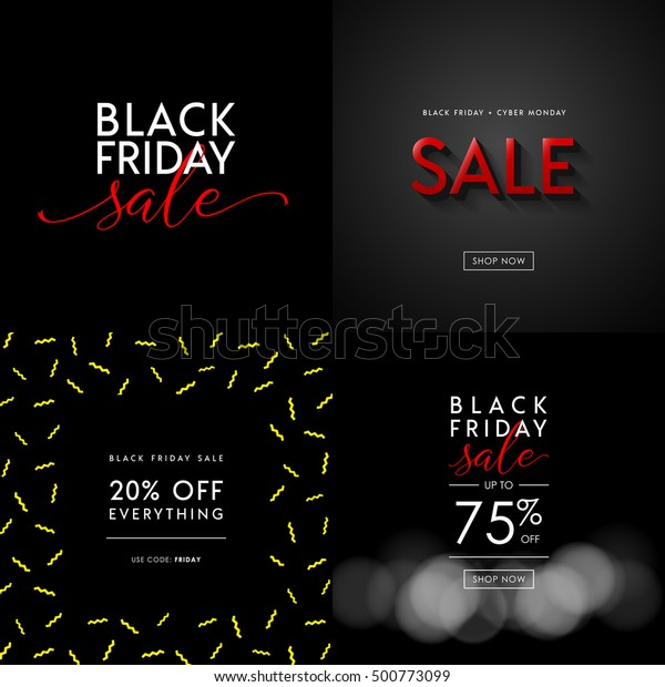 Black Friday Sale Illustrations Social Media Stock Vector Royalty Free 500773099