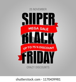 Black Friday sale inscription best design template. Black Friday banner, poster, badge, sticker, web advertising vector illustration.