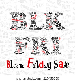 Black Friday sale. Inscription BLK FRI made of various words