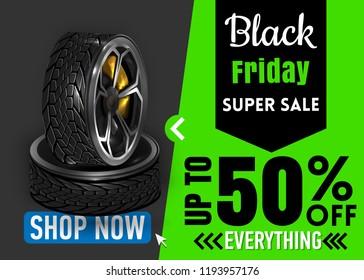 Black Friday sale inscription design template. banner. Vector illustration. Car tyres, tyres, website Template sale car drives