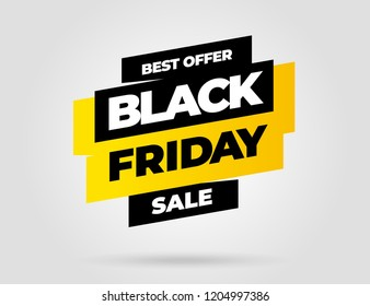 Black Friday sale inscription design template. Yellow banner Black Friday. Vector illustration eps 10.