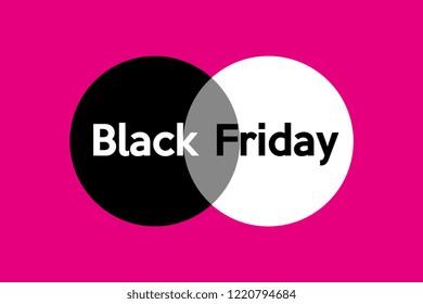 Black Friday sale inscription design template. Black Friday banner on pink background. Vector illustration
