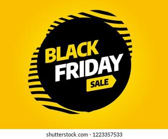 Black Friday sale inscription design template. Yellow banner Black Friday. Vector illustration eps 10.