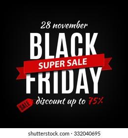 Black Friday Sales Inschrift Design-Vorlage. Black Friday Banner. Vektorgrafik