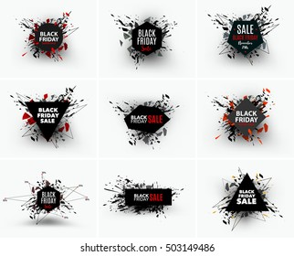 Black Friday sale inscription design template. Geometric banners. Vector illustration, marketing price tag, discount, advertising. Abstract explosion of black glass. Vector illustration.