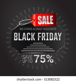 Black Friday sale inscription design template. Black Friday banner. Black Friday Sale Poster. Black Friday Calligraphic Advertising Poster design. Sale Discount Banner Label style. Vector illustration
