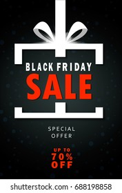 Black Friday sale inscription design template. Black Friday banner. Up to 70 pe off. Special offer. Vector illustration EPS10