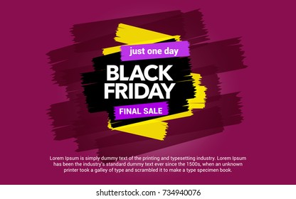 Black Friday sale inscription. Sale and discount. Abstract ink blots on a pink background. Great discounts. Brush strokes.  Black Friday template for your banner or poster. Vector illustration