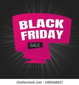 Black friday sale inspiration poster, big pink ribbon banner or flyer vector illustration isolated on dark background. Big holiday mega sale with ribbon, label tag and text.