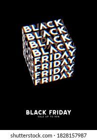 Black Friday Sale kinetic typography. Kinetix trendy Text Template. Modern poster, banner, brochure, flyer, cover. Black background white letters. Vector illustration