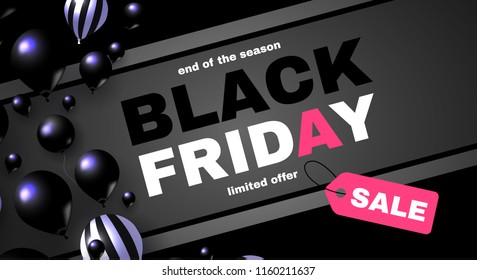 Black Friday Sale Layout Template with 3D Realistic Balloons. Vector illustration