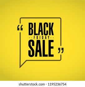 Black Friday sale line quote message concept isolated over a yellow background