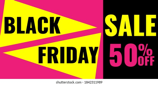 Black Friday Sale modern abstract geometric banner. Promotion coupon. Vector stock illustration.