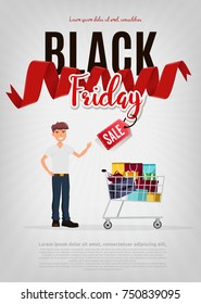 Black Friday sale modern poster, banner. Young caucasian white guy holding a lot of purchases after shopping on a Black Friday sale. Vector cartoon illustration.