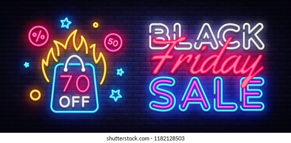 Black Friday Sale Neon Banner Vector. Black Friday neon sign, design template, modern trend design, night neon signboard, night bright advertising, light banner, light art. Vector illustration