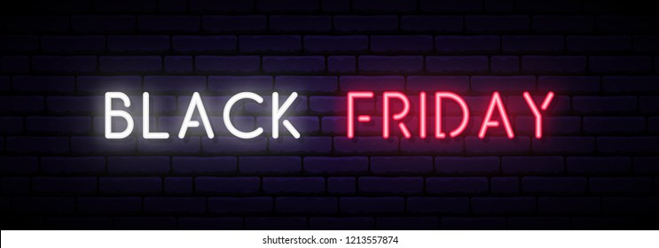 Black Friday Sale neon sign. Long horizontal light banner . Vector bright signboard.