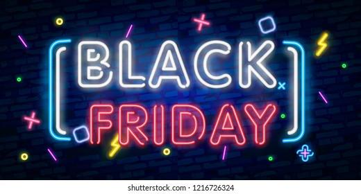 Black Friday Sale neon sign vector. Black Friday Sale Design template neon sign, light banner, neon signboard, nightly bright advertising, light inscription. Vector illustration