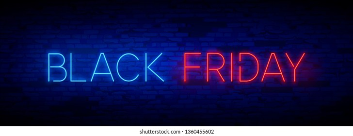 Black Friday Sale neon sign vector. Black Friday Sale Design template neon sign, light banner, neon signboard, nightly bright advertising, light inscription. Vector illustration