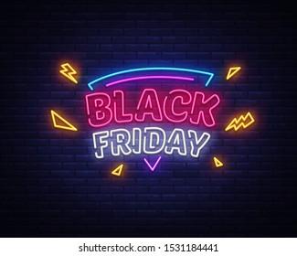 Black Friday Sale neon sign vector. Black Friday Bid discount Design template neon sign, light banner, neon signboard, nightly bright advertising, light inscription. Vector illustration.
