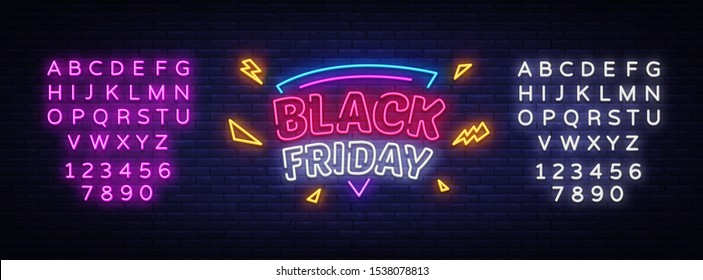 Black Friday Sale neon sign vector. Black Friday Bid discount Design template neon sign, light banner, neon signboard, nightly bright advertising, light inscription. Vector. Editing text neon sign.