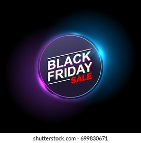 black friday sale neon vector banners. illustration.