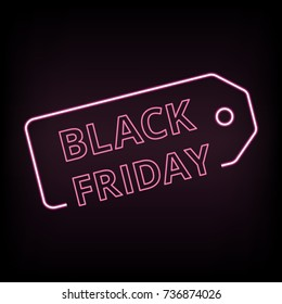 Black friday sale neon vector banner with electric letters